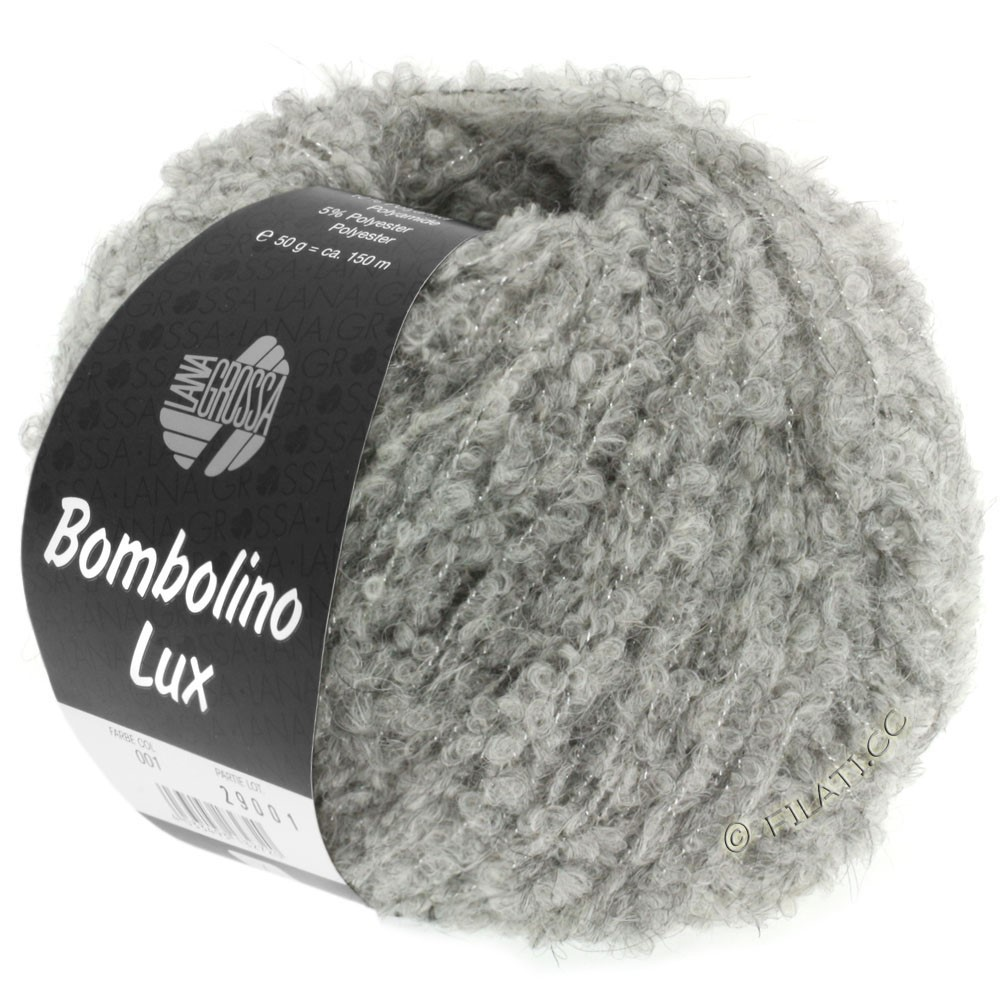Lana Grossa BOMBOLINO Lux   012-gris claro/plata