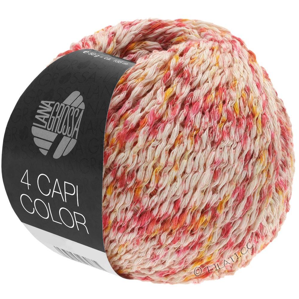 Lana Grossa 4 CAPI Color | 105-naturaleza/rojo/amarillo sol/rosa vívida