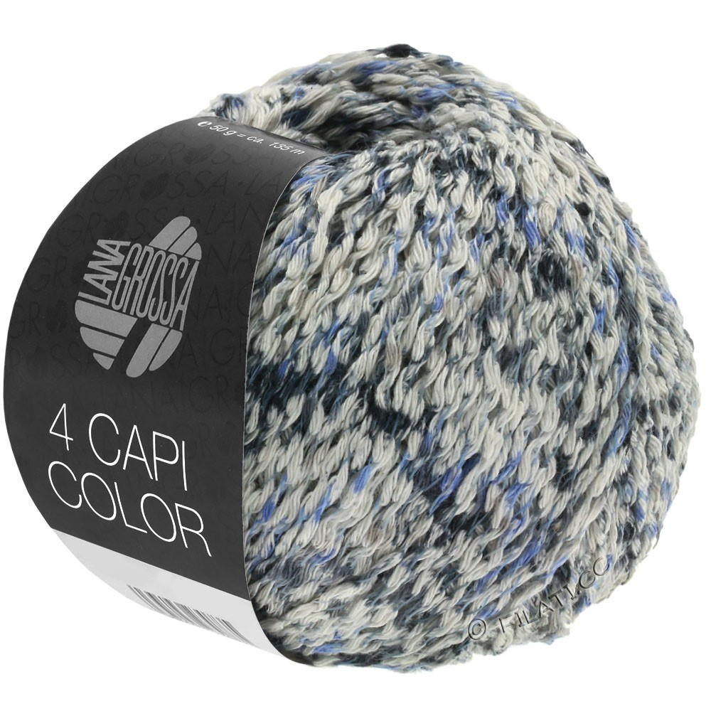 Lana Grossa 4 CAPI Color | 107-naturaleza/jeans/azul oscuroro/gris