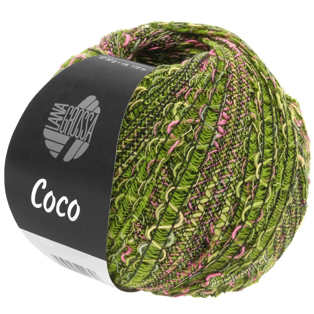 Lana Grossa COCO | 16-oliva/rosa vívida/verde oscuro