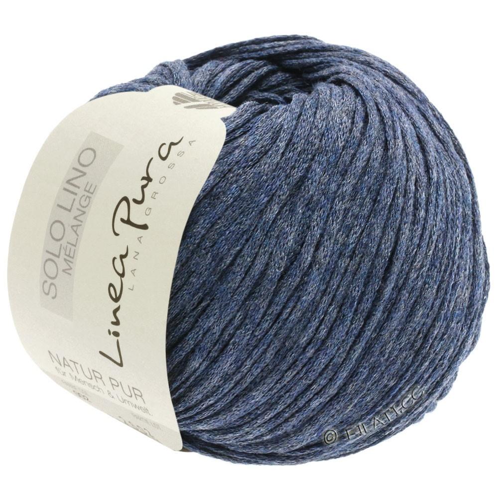 Lana Grossa SOLO LINO MELANGE (Linea Pura) | 107-azul oscuroro mezcla