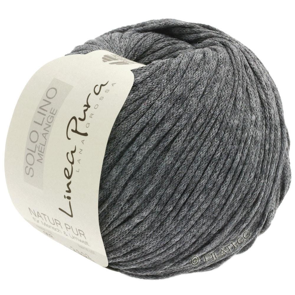 Lana Grossa SOLO LINO MELANGE (Linea Pura) | 111-gris oscuro mezcla