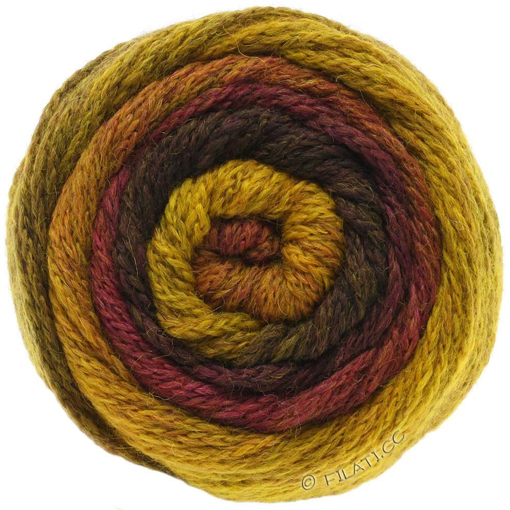 Lana Grossa SUPER COLOR | 106-amarillo mostaza/rojo marrón/marrón oscuro