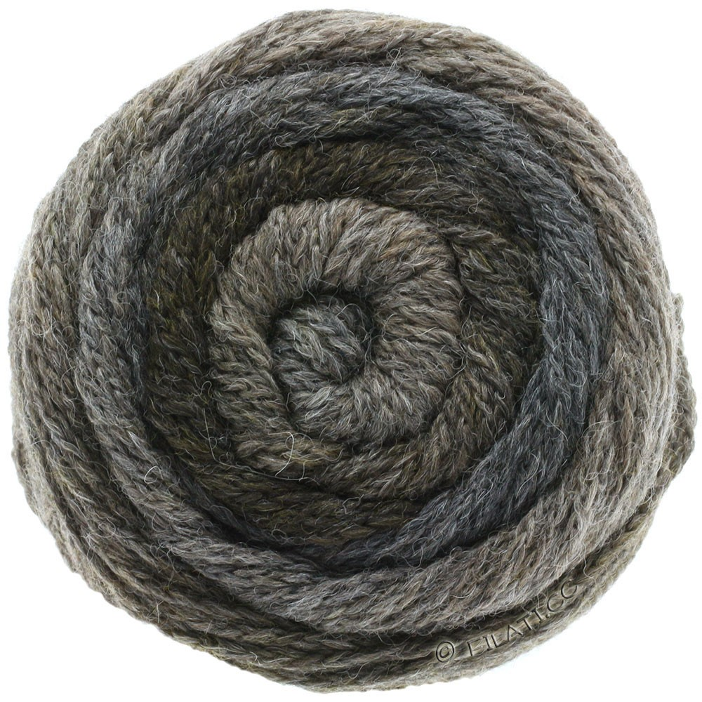 Lana Grossa SUPER COLOR | 110-gris oscuro/gris marrón/antracita
