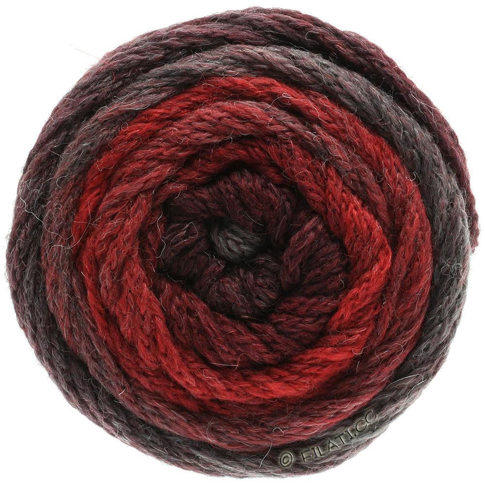 Lana Grossa SUPER COLOR | 112-rojo ladrillo/rojo negro/gris rojo